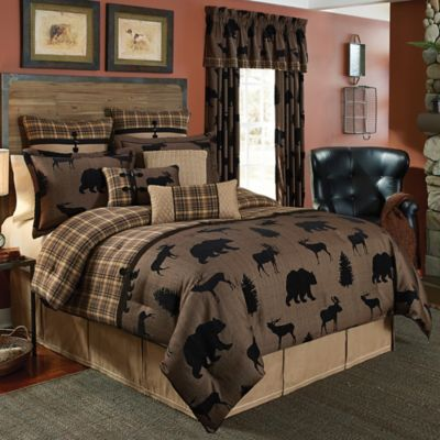 croscill summit queen comforter set in brown