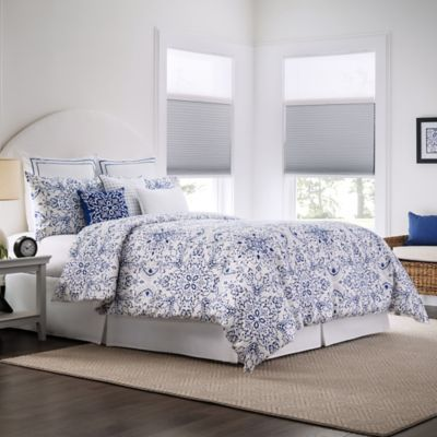 Real Simple Lisbon Reversible Comforter Set in BlueWhite Bed Bath