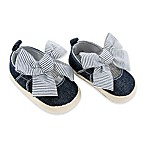 Rising Star™ Size 3-6M Chambray Espadrille with Oversized Stripe Bow