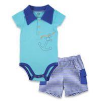 BabyVision® Hudson Baby® Size 6-9M 2-Piece Anchor Bodysuit and Cargo Short Set in Blue
