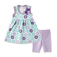 BabyVision® Hudson Baby® Size 0-3M 2-Piece Sand Dollar Dress and Legging Set in Purple