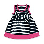 BabyVision® Hudson Baby® Size 3-6M Sleeveless Big Bow Striped Dress in Navy/Pink