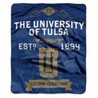 NCAA Tulsa University Super Plush Raschel Throw Blanket
