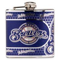 MLB Milwaukee Brewers Stainless Steel Metallic Hip Flask