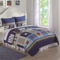 Sports Full/Queen Quilt Set in Denim/Khaki