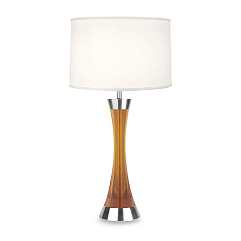 Rundles Table Lamp with White Fabric Shade