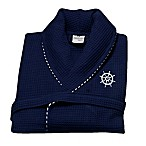 Medium Turkish Cotton Sailor Waffle Bathrobe with Embroidery in Navy