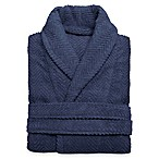 Linum Home Textiles Small/Medium Herringbone Unisex Turkish Cotton Bathrobe in Midnight Blue