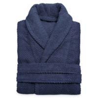 Linum Home Textiles Large/Extra-Large Herringbone Unisex Turkish Cotton Bathrobe in Midnight Blue