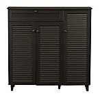 Baxton Studio Pocillo Wood Shoe Storage Cabinet in Dark Brown