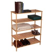 Household Essentials® 5-Tier Bamboo Basketweave Shoe Rack in Natural