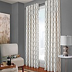 Designer's Select Claudia Geo 84-Inch Back Tab Window Curtain Panel in White/Charcoal