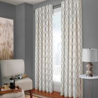 Designer's Select Claudia 84-Inch Back Tab Window Curtain Panel in White/Charcoal