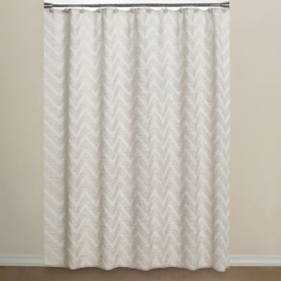 Elegant Chevron Fabric Shower Curtain In Neutral Within Contemporary Shower Curtains