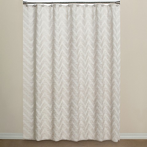 cloth shower curtains chevron fabric shower curtain in neutral bed bath amp beyond 29216