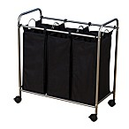 Household Essentials® Rolling Triple Laundry Sorter in Black