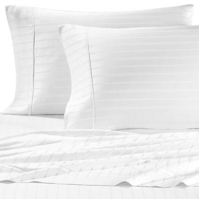 Pure Beech Modal Dobby Stripe Full Sheet Set In White