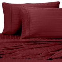Pure Beech Modal® Dobby Stripe California King Sheet Set in Burgundy