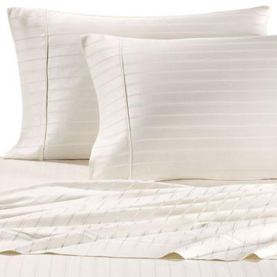 pure beech modal dobby stripe queen sheet set in ivory