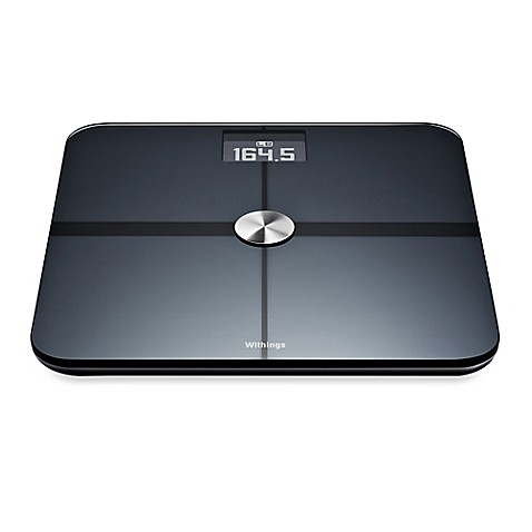 withings smart body analyzer bathroom scale in black - bed bath