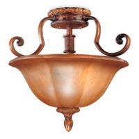 Minka Lavery® Illuminati 3-Light Semi-Flush Mount Fixture in Bronze with Patina Glass Shade