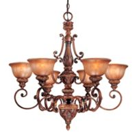 Minka Lavery® Illuminati 6-Light Chandelier in Bronze with Patina Glass Shade