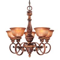 Minka Lavery® Illuminati 5-Light Chandelier in Bronze with Patina Glass Shade