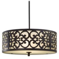 Minka Lavery® Nanti 3-Light Chandelier in Iron Oxide with Etched Vanilla Glass Shade