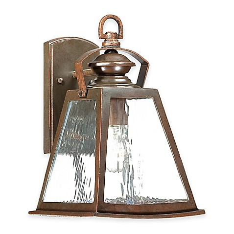 image of Minka Lavery® Oxford Road 1-Light Wall-Mount Outdoor Lantern in Bronze with Glass Shade