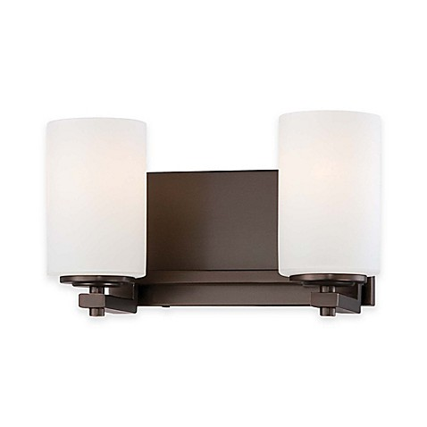 Minka Lavery Morlaix 2 Light Wall Mount Bath Lighting Fixture In Bronze With Glass Shade Bed