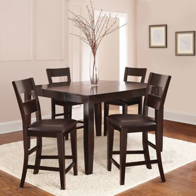 Victoria 5 Piece Counter Height Dining Set In Dark Espresso