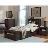 NE Kids Highlands Twin Bookcase Bed with Trundle in Espresso
