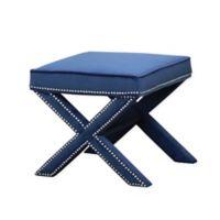 Abbyson Living® Arc Nailhead Trim Ottoman Bench in Blue