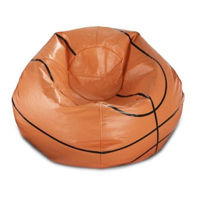 Round Basketball Bean Bag In Matte Orange/Black