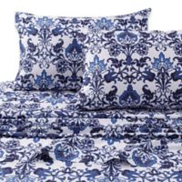 Tribeca Living Catalina 300-Thread-Count Deep-Pocket Percale California King Sheet Set in Blue