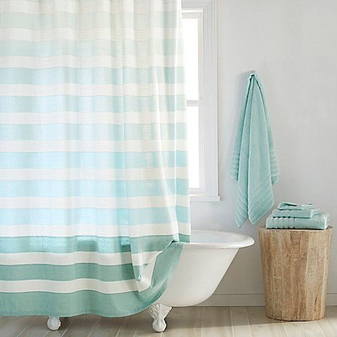 teal striped shower curtain. DKNY Highline Stripe Cotton Shower Curtain  Bed Bath Beyond