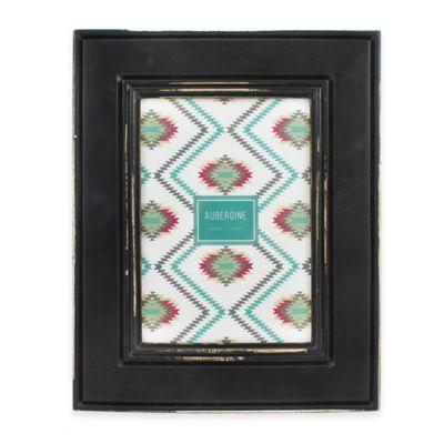 aubergine phoenix 5 inch x 7 inch distressed wood picture frame in black