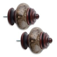 Cambria® Classic Wood Granite Leaf Finial in Cherry (Set of 2)