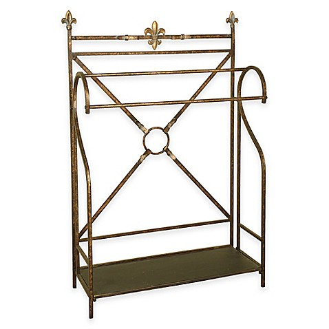 Classic Metal Quilt Rack With Bottom Shelf In Oil Rubbed Bronze