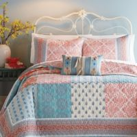 Jessica Simpson Indian Sunrise Twin Quilt in Coral/Blue