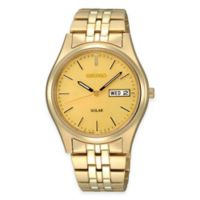 Seiko Solar Men's 37mm Watch in Gold-Tone Stainless Steel with Champagne Dial