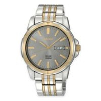 Seiko Men's 39mm Solar Watch in Two-Tone Stainless Steel with Charcoal Dial