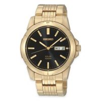 Seiko Men's 39mm Solar Watch in Gold-Tone Stainless Steel with Black Dial