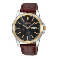 Seiko Men's 37mm Solar Watch in Two-Tone Stainless Steel with Blue Dial and Brown Leather Strap