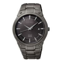Seiko Men's Solar 41mm Watch in Black Ion-Finished Stainless Steel with Black Sunray Dial