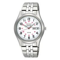 """Seiko Men's 37mm Solar """"Railroad Approved Watch"""" in Stainless Steel with White Dial"""