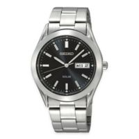 Seiko Men's 37mm Solar Watch in Stainless Steel with Black Dial