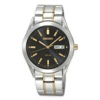 Seiko Men's 37mm Solar Watch in Two-Tone Stainless Steel with Black Dial