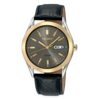 Seiko Men's 37mm Solar Watch in Two-Tone Stainless Steel with Charcoal Dial and Black Leather Strap