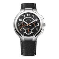 Philip Stein Men's 45mm Classic Round Chronograph Watch in Stainless Steel with Black Leather Strap